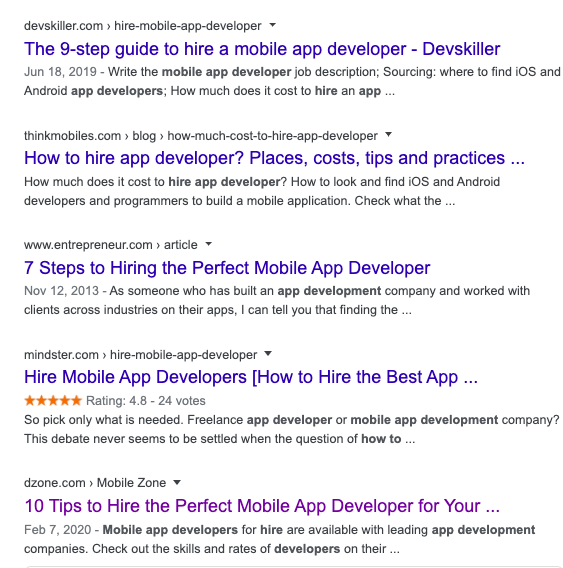 how to hire angular developers seo content