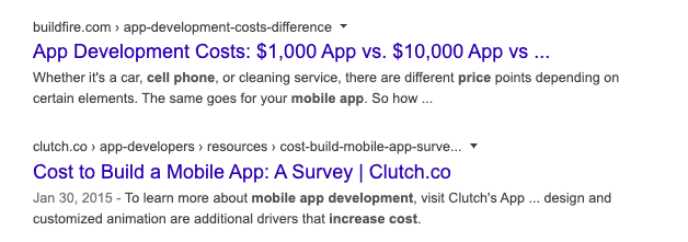 mobile app development cost examples content marketing